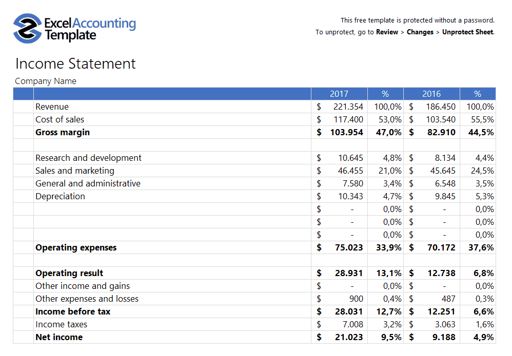 Income Statement Template for MS Excel  Word amp Excel