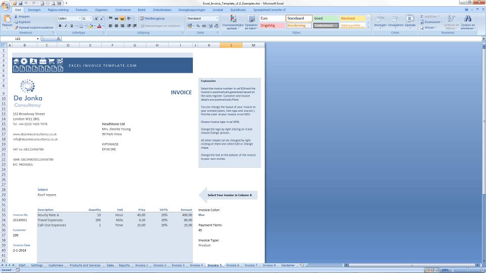 excel invoice template - print invoice