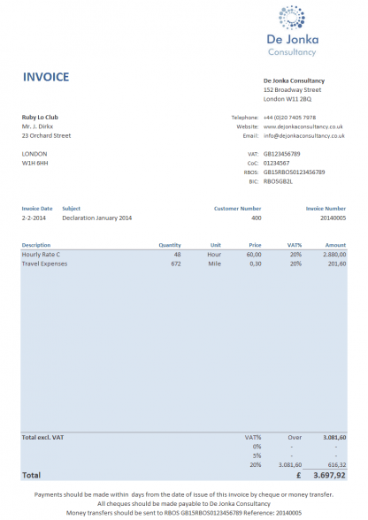 invoice template example 8