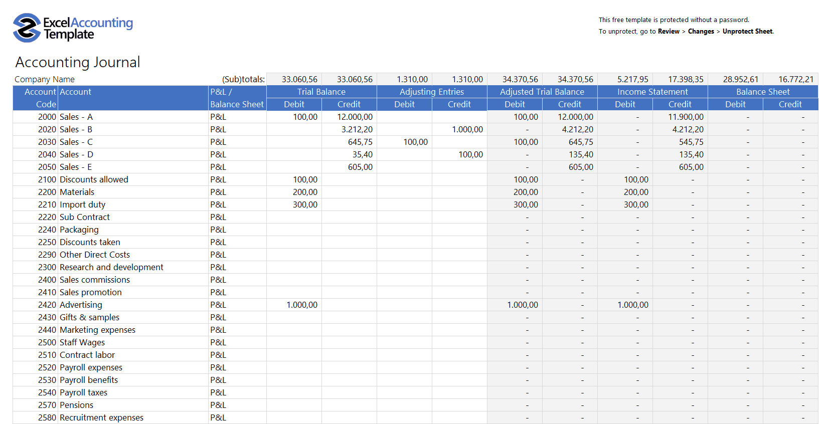 Excel Balance Sheet Template Free Download from excelaccountingtemplate.com