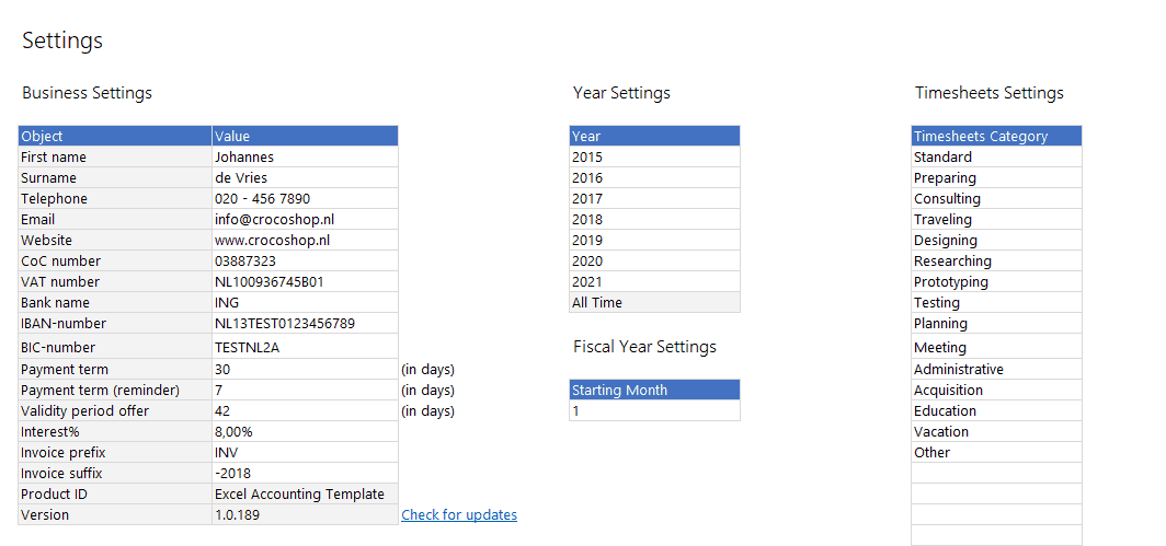 Excel accounting template support fiscal years